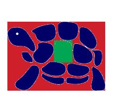 Blaue Schildkröte mit grünem Pfleck